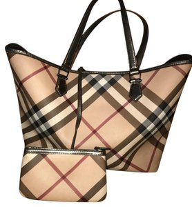 Burberry Tote in beige, gray, red, black