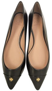Tory Burch black, gold logo Flats