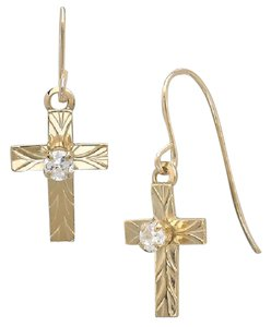 Sears 10K Yellow Gold Cross with Crystal Center Earring W/ Gift Box!