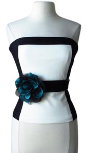 White House | Black Market New with tags lotus teal flower stretch belt Large