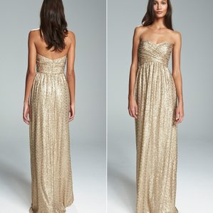 Amsale Gold London Sequin Tulle Strapless Column Gown Size 6 Dress