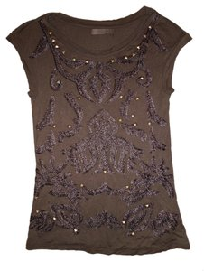 Zara T-shirt Studs Embroidery Top Dark Brown, Cappucino
