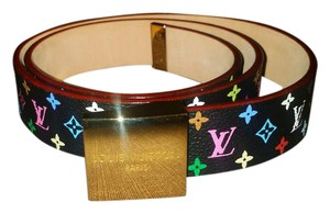 Louis Vuitton Louis Vuitton Ceinture Carree Black Multicolor Belt 32