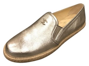 Chanel Cc Loafer Moccasin Silver Flats