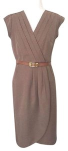 Sharagano Office Career Pleated Belted Dress