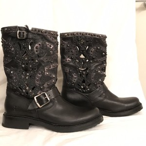 Frye New/nwt Biker Motorcycle Leather Black Boots