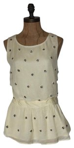Anthropologie Peplum & Clay Pale Embellished Top YELLOW