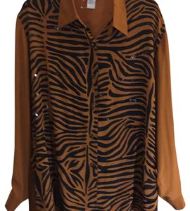 Diane Gilman Top rich Carmel brown with black stripes