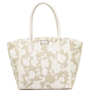 Kate Spade Large Fabric Leather Forster Tote in WHITE/TAN