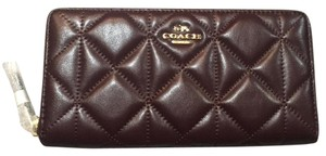 Coach *NEW* COACH ACCORDION ZIP WALLET IN QUILTED LEATHER Oxblood