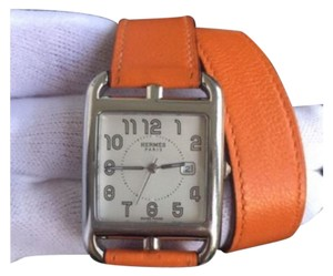 Hermès Cape Cod GM Stainless Steel Orange Leather Double Tour Wrap Watch