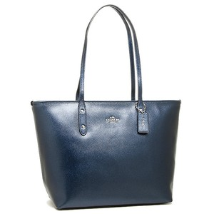 Coach Zip Top Navy Shimmery Tote in blue
