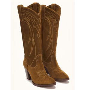 Frye Cowboy Heeled Cowgirl Anthropologie Urban Chic Classic Embroidered Brown Boots