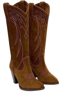 Frye Cowboy Suede Leather Soft Pull On Heel Cowgirl Tall New Nwb Brown Boots