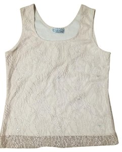 Pamela Stewart Lace Shell Metallic Top Cream