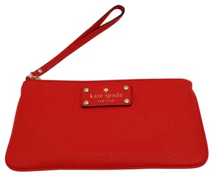 Kate Spade Zippered Chrissy Pebbled Leather Pouch Wristlet in GERANIUM