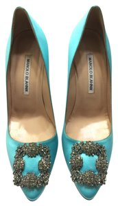 Manolo Blahnik Light Blue Satin Pumps