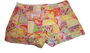 Lilly Pulitzer Mini/Short Shorts Pink, Orange, Yellow, White, and Green