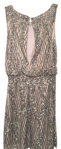 Alberto Makali Sequin Beaded Silver Sleeveless Shift Dress
