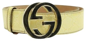 Gucci Monogram Patent Leather Belt GGTY11 Size 32