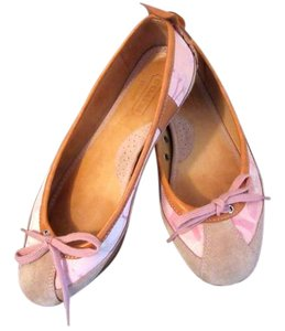 Coach Suede Toes Bows Signature Fabric Leather Lined Ballet Pink Flats