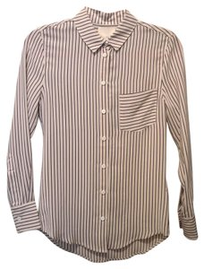 Band of Outsiders Silk Striped Oxford Pocket Button Down Shirt Champagne