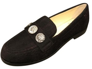 Chanel Cc Loafer Coin Tweed Black/Burgundy Flats