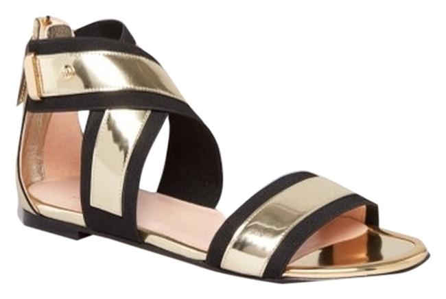 Item - Black and Gold Expo Sandals Flats Size US 9.5 Regular (M, B)