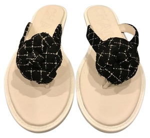 Chanel Tweed Camellia Thong Black/White Sandals