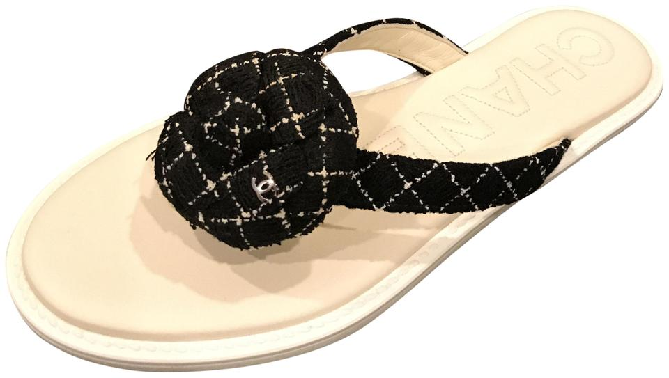bb1a17f2c Chanel Black White 16s Tweed Camellia Flower Leather Thong Flip Flop ...