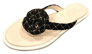 Chanel Tweed Camellia Thong Flip Flop Black/White Sandals