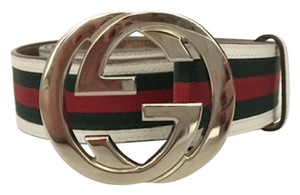 Gucci Authentic Gucci GG Buckle White and Red Mens Belt