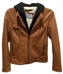 Marc New York Leather Hooded Medium Brown Leather Jacket