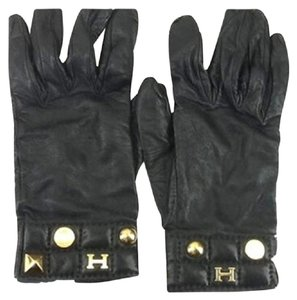 Hermès Hermes H Logo Leather Gloves Size 7.5 172422 HTL44