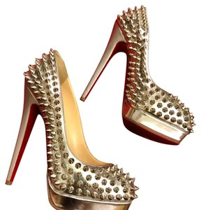 Christian Louboutin silver and spikes Platforms