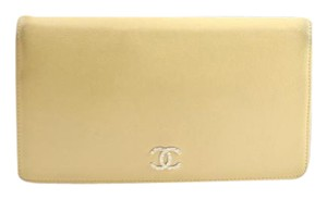 Chanel Beige Caviar Bifold Long Wallet 166206
