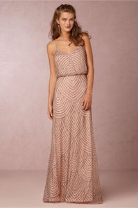 Adrianna Papell Taupe Pink Obreanna Feminine Bridesmaid/Mob Dress Size 14 (L)