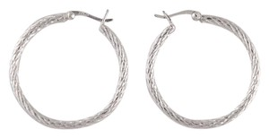 Primavera Couture Pure 100 Sterling Silver Textured Hoop Earrings