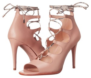 Coach A00821 Kira Beechwood Cream Snake Leather Lace Up Heels Pink Pumps