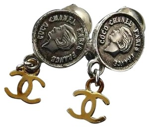 Chanel Two-Tone Coin CC Earrings