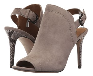 Coach A01420 Kearney Fog Suede Snake Leather Heels Beige Pumps