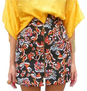 Zara Frontzip Floral Mini Skirt black