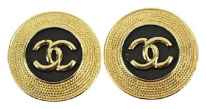 Chanel Gold Tone CC Logo Clip On Earrings CCAV319