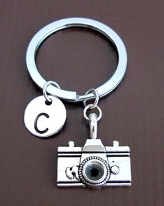 Camera Keychain, Personalized Keychain, Camera Key Ring, Monogram