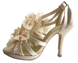 Lulu Townsend Satin Flower ivory, bone, white Sandals