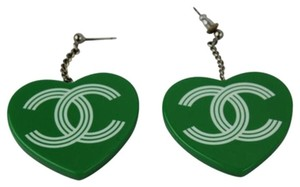 Chanel Authentic CHANEL CC Logos Heart Motif Huge Jumbo Pierce Green CCTLM29