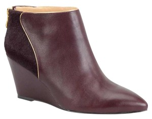 Carmen Marc Valvo Leather Fur On Heel Gold Piping Burgundy / Black Pony Boots