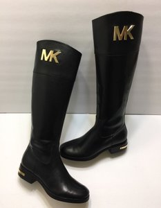 Michael Kors Hayley Leather Tall Riding Black Boots