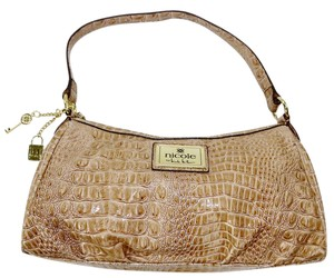 Nicole Miller Crocodile Faux Patent Patent Cream Satchel in Tan
