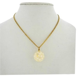 Chanel Pearl Ball Medallion Gold Necklace CCAV256 167246